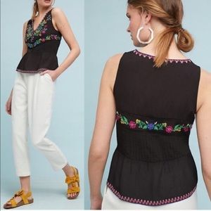 Anthropologie Maeve Black Floral Embroidered Tank